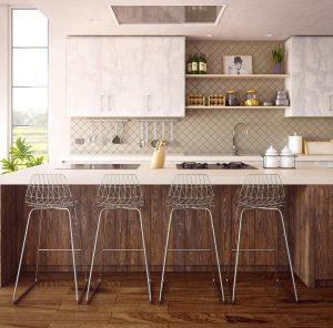 cuisine ouverte avec bar et chaise hautes dans les tons blanc et bois